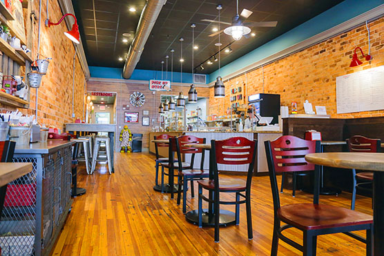 Inside the Creme Shack Ice Cream Parlor in Downtown Greenville, SC